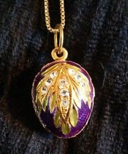 Vintage Russian Silver & 24ct Gold-plated flower Egg pendant purple enamel Italy