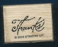 THANKS Script Card Word Occasion gift tag  Stampin' Up! Wood Mount RUBBER STAMP