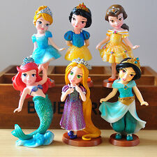 Disney Princess 6pc set Figures toy doll Cake Topper Ariel Snow White Rapunzel