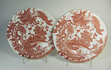 "c. 1953-1954 Two Royal Crown Derby Red Aves Luncheon Plates - 9 1/4"" wide"
