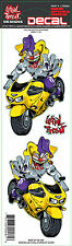 Lethal Threat StickerAufkleber Yellow Jester Sportbike Jester Face Tank Helm