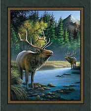 Mountain Sky Elk Quilt top Wall Hanging Panel Fabric 100% Cotton Wildlife