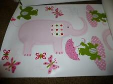 Pottery Barn Kids Taylor Jungle Wall Butterfly Pink Elephant Frog 12 Decal Girls