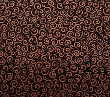 Metals Curly Cue QT Basics Quilting Treasures BTY Copper Metallic on Black