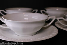 Rosenthal China Maria White Cream Soup Bowl Under Plate Set of Four