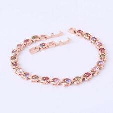 Elegant 18k Gold Filled Colorful Gemstones Sapphires Women Bracelet Bangle NEW