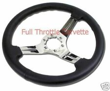 1968-1982 Corvette Black Leather Steering Wheel with Chrome Spokes