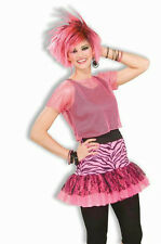 Pop Party Neon Pink 80's Skirt with Zebra Print and Black Lace
