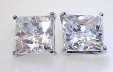 4 ct Brilliant Princess Earrings Top AAAA CZ Moissanite Simulant Solid Silver