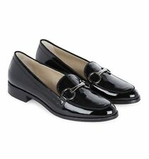 $355 size 8 HOBBS Clarence Black Leather Heels Loafers Moccasins Womens shoes