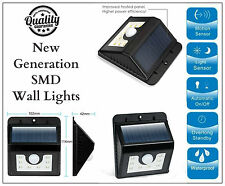 Motion Sensor Black Wall Bright White 8 SMD Light Outdoor Solar Powered Garden