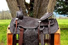 "15"" SILVER LACED TOOLED LEATHER HORSE COWBOY PLEASURE TRAIL WESTERN SADDLE TACK"