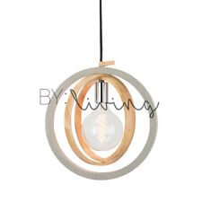 Modern Contemporary Minimal wood Timber circular Concrete pendant light