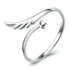 angel wings ring rhodium silver jewelry birthday gift women's jewellry band wrap