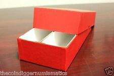 Coin Storage Box Red 10x4x2 Holder DOUBLE ROW for 2x2 Flip Holds 200 Coins