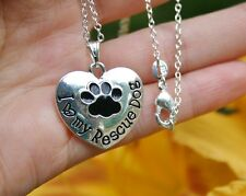 .925 Sterling Silver NECKLACE I Love My Rescue Dog Heart Lover Gift Paw Print