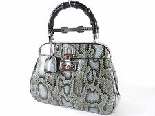 Authentic GUCCI Ladylock Bamboo Hand Bag Python Leather Green Brown 331830 A3397