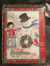 PUNCH STUDIO SNOWMAN Christmas Cards 16 Embellished Victorian Merry
