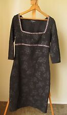 Women's Vintage BETSEY JOHNSON Black Rose Pin-Up Long Sleeve Fitted Dress- Sz L
