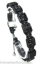 Mens Womens Black Swarovski Crystal Square Shamballa Bracelet  NEW #4