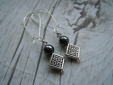 Celtic Earrings, Hematite, Swarovski Crystal, Scottish Earrings, Scottish Gift