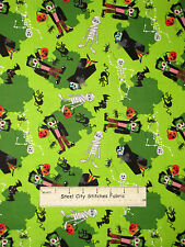 Halloween Dracula Mummy Frankenstein Fabric 100% Cotton By The Yard Monsters
