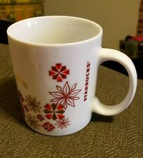 2013 Starbucks Holiday White Mug Red Snowflakes Geometric Cup flower tan brown