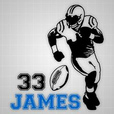 Football player wall decal ,vinyl wall football silhouette Varsity name stickers