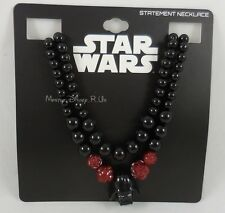 New Disney Star Wars Black Bead Red Rose Darth Vader Pendant Statement Necklace