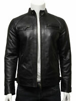 Vintage Mens Leather Biker Jacket Black And Tan BNWT 100% Real Leather S-5XL