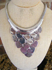 OVERLAPPING CARVED TIBETAN SILVER HEART SHAPED LAYERED STATEMENT BIB NECKLACE