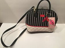 BETSEY JOHNSON MINI DOME BLK/WHTSTR PURSE NWT