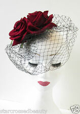 Vintage Deep Red Rose Birdcage Veil Fascinator Headpiece Races 1940s Black P29