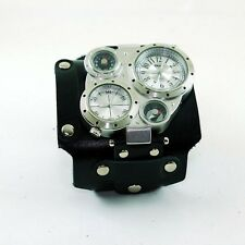 Steampunk Mens Watches with Black Leather Wristband Handmade New