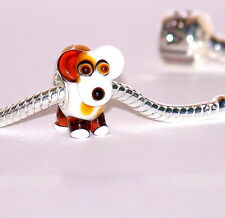 925 STERLING SILVER SINGLE CORE MURANO GLASS  ANIMAL BEAD-CHARM-DOG
