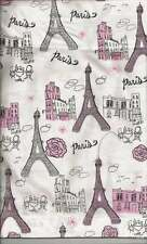 Paris Eiffel Tower Valance with Pink and Silver Glitter on White Background