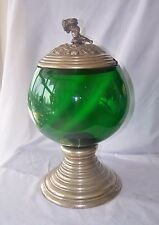 Vintage Large Hand Blown German Silverplate & Green Glass Punch Bowl w Cover
