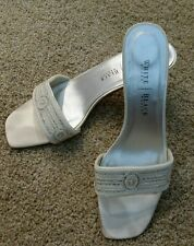 White House Black Market Sexy Elegant Ivory/Silver Satin Beaded Sandals  Sz 10B