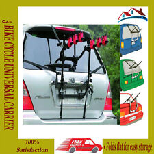 NEW 3 BIKE CYCLE UNIVERSAL CARRIER BIKE FOLDABLE RACK CAR SALOON HATCHBACK STRAP