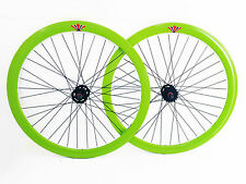 "SPEED FIXED BIKE BICYCLE WHEELS FRONT + REAR 28"" 700X23 622 GREEN"