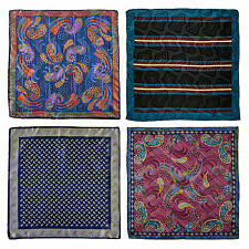 "New Men's SANTOSTEFANO Lot of 4 Handmade 15"" Silk Pocket Square Handkerchief NWT"