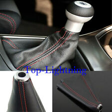JDM Red Stitch Black Real Leather Shifter Shift Knob Boot Cover Automatic/Manual