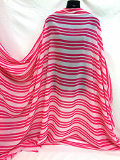 *NEW*Soft Chiffon Georgette Triple Striped Pink/White Dressmaking/Crafts Fabric