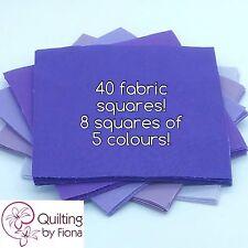 """40 x 5"""" Purple PreCut Fabric Charm Squares, 5"""", 5 Colours, Cotton"""