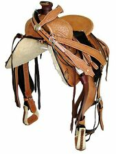 "'THSL' WESTERN ROPER RANCH SADDLE SET - LT OIL NATURAL, HARD SEAT, 16"" (1058)"