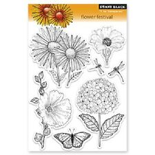 PENNY BLACK RUBBER STAMPS CLEAR FLOWER FESTIVAL STAMP SET