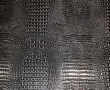 Upholstery Vinyl faux Leather Alligator Glossy 2 tone BLACK on SILVER Metallic