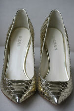 BALMAIN GOLD METALLIC PYTHON HEELS PUMPS 38 UK 5 US 7/8