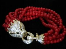 MAGNIFICENT LEOPARD PANTHER HEAD CUBIC ZIRCONIA 8 ROW RED BEAD BRACELET