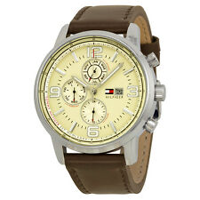 Tommy Hilfiger Beige Dial Brown Leather Strap Mens Watch 1710337